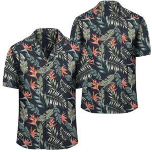 Tropical Strelitzia Black Hawaiian Shirt