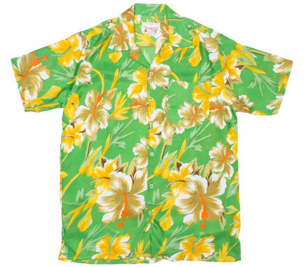 Big Flower Print Green Hawaiian Shirt