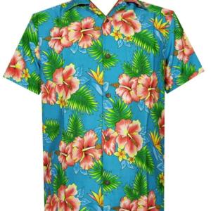 Men'S Hawaiian Shirt Hibiscus Flower Print Beach Party Aloha Camp Hawaiian Shirt For Men