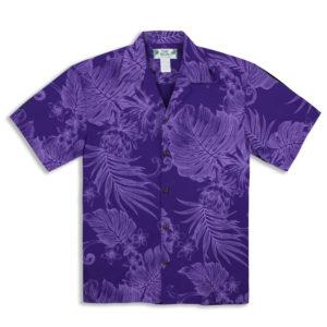 Men's Hawaiian Shirt – By Two Palms Hawaii – Monstera Ceres – Purple