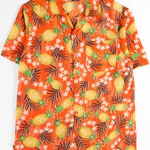 Orange Pineapple Floral Hawaiian Shirt