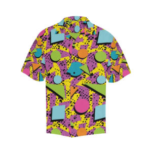 80s Geometric Pattern Print 80s Hawaiian Shirt