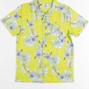 Lime Color Hibiscus Hawaiian Shirt