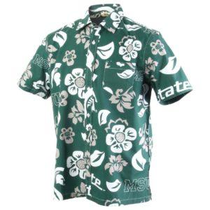 Men'S Michigan State University Floral Shirt Button Up Beach Shirt