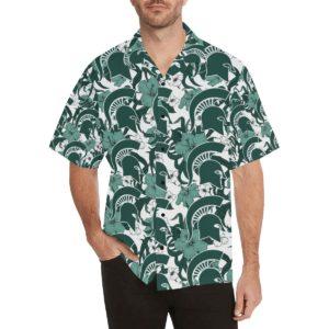 Michigan State Spartans Hibiscus Pattern Hawaiian Shirt