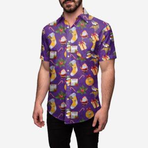 Minnesota Vikings Christmas Explosion Button Up Shirt