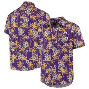 Minnesota Vikings Floral Woven Button Up Shirt - Purple