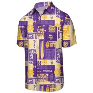 Vintage Minnesota Vikings Tropical Button Up Woven Shirt