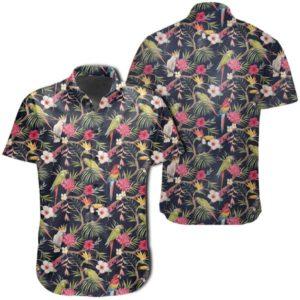 Tropical Hibiscus, Strelitzia Palm Leaves Hawaiian Shirt