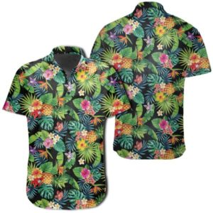 Tropical Pattern With Pineapples, Palm Leaves And Flowers Hawaiian Shirt