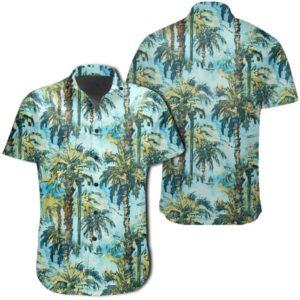 Tropical Palm Trees Blue Hawaiian Shirt
