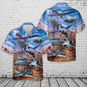 United States Air Force Fairchild Republic A-10 Thunderbolt II Hawaiian Shirt